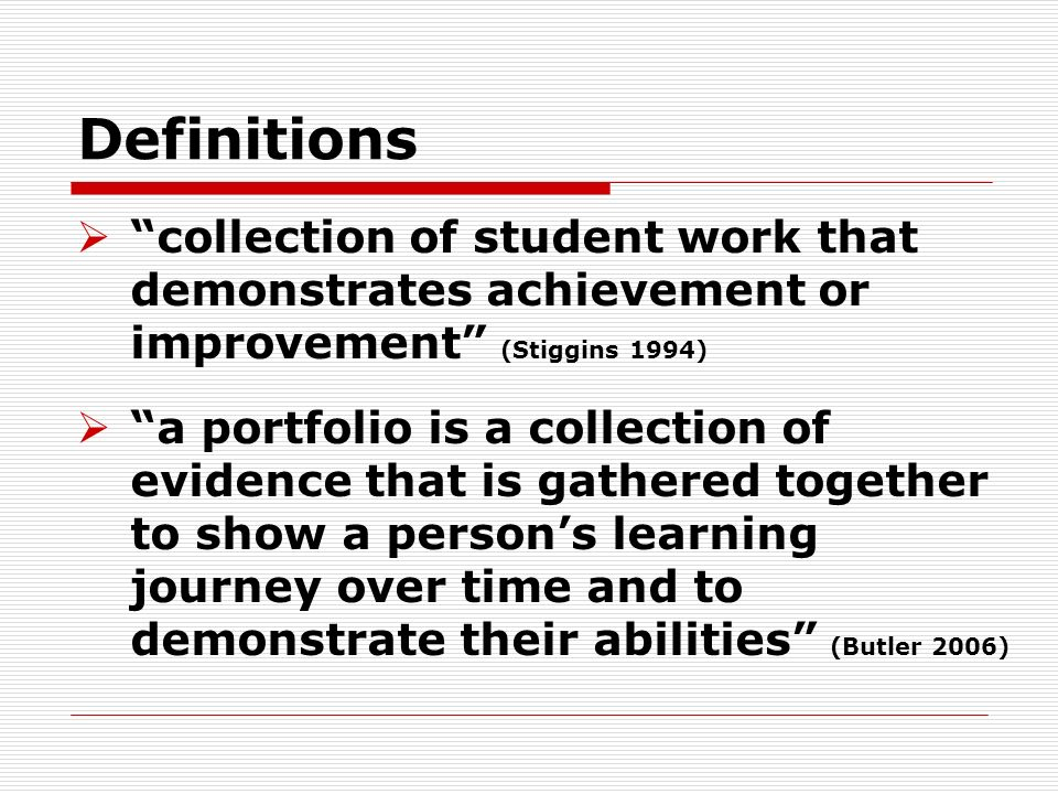 portfolios and standardized tests as ways of assessing students Through standardized testing, educators have begun to explore alternative  forms of student assessment techniques, one of which is portfolio assessment.