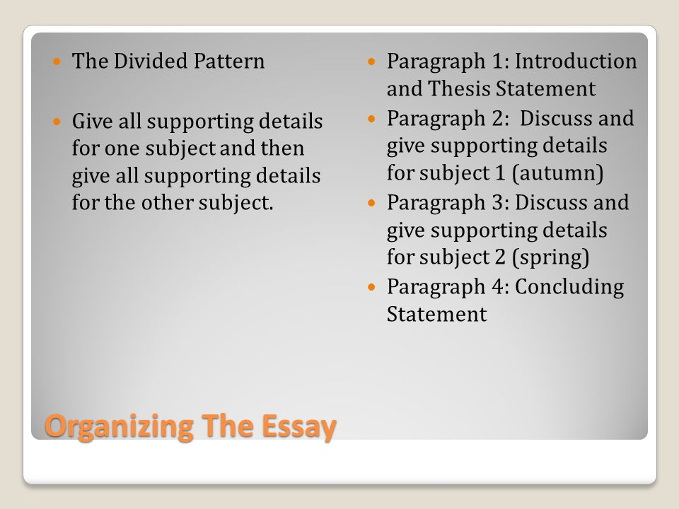 organizing details in an essay Start studying writing process learn vocabulary,  leads into the topic of the essay,  are a pictorial way of constructing knowledge and organizing.