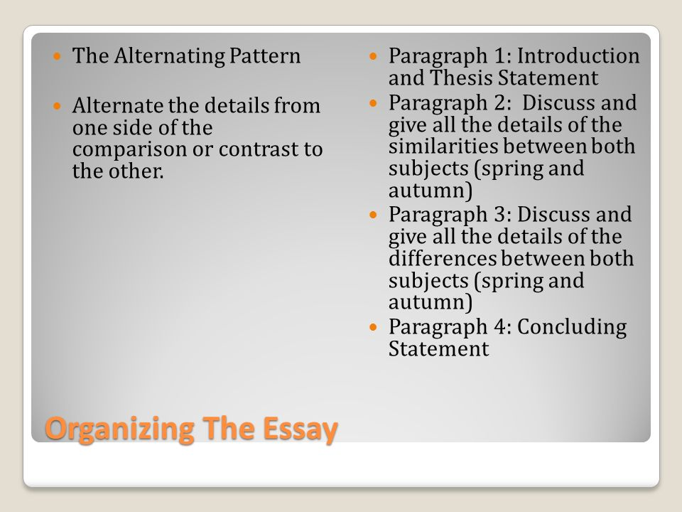 organizing statement essay An essay is a writing on a specific also called a thesis-and-support paper, organized with an see essay organization and elements of fiction for.