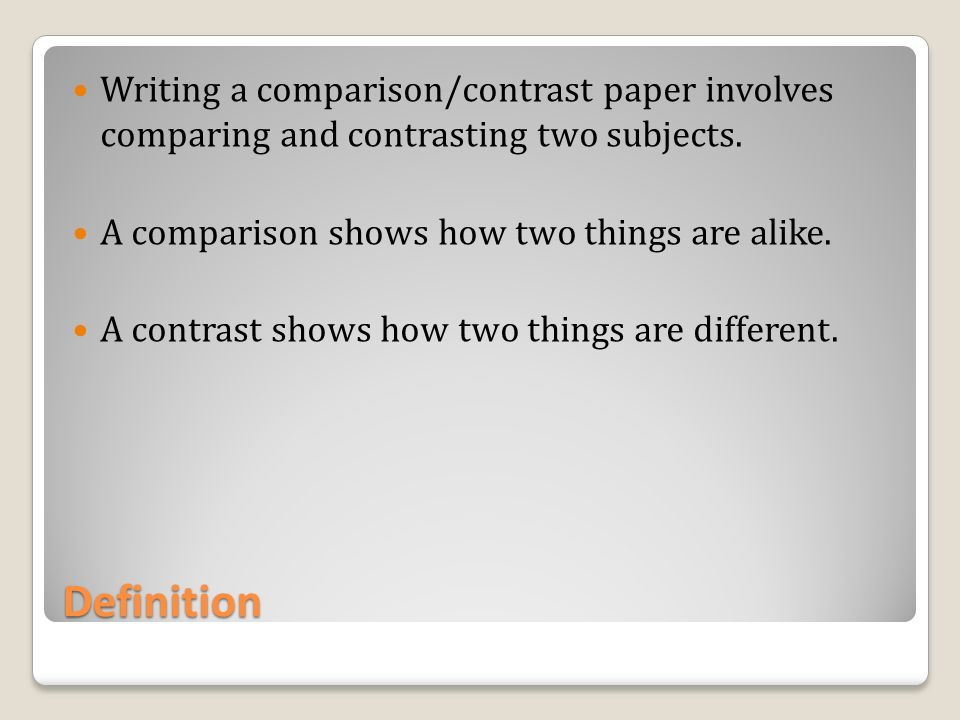 how to write a compare and contrast essay owl The combination of comparing and contrasting form one of the most popular essay forms in english classes today, but comparing and usually, a compare/contrast essay will aim to do one of the following 4 things: to show that one item is superior to another like item (that nintendo video games.