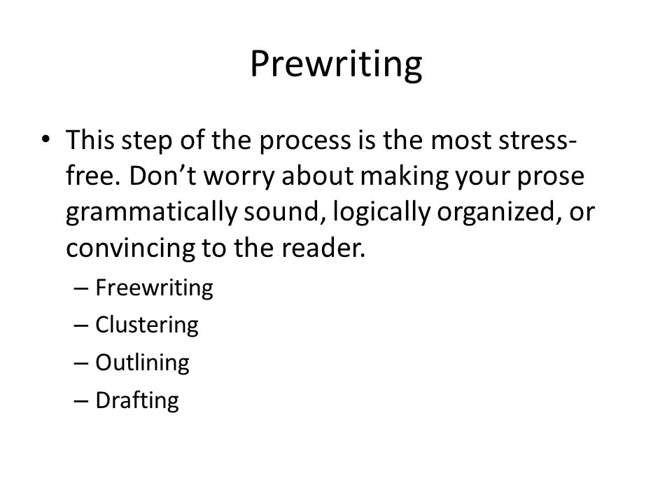 steps prewriting Steps in the writing process most students never think of writing as a complex process which requires many steps more often than not students wait until the last.
