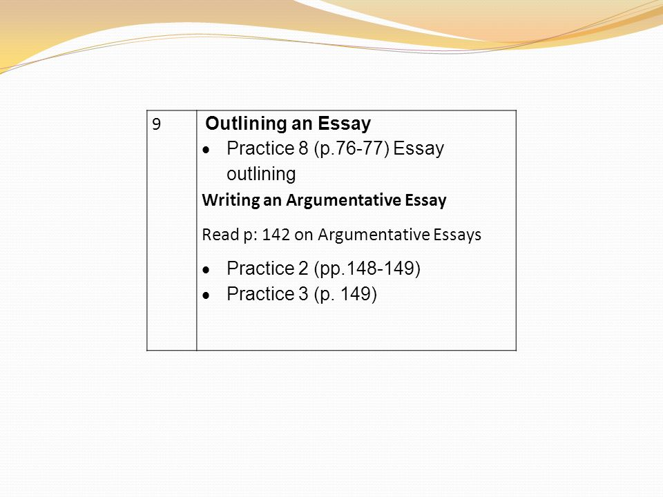 practice outlining essay Getting started: outlining based on the mla's sample, here is thruston parry's tentative outline for his proposed paper on the effects of el niño.