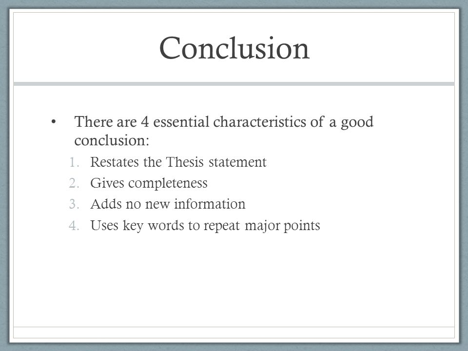 5 characteristics of a good thesis statement Best answer: c or d is the answer a thesis statement can state what you are arguing for or against only in a persuasive essay but in a expository it should leave no doubt in the readers mind what it will be about.