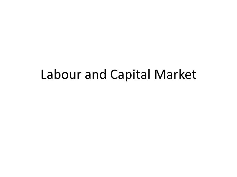 Labour and Capital Market