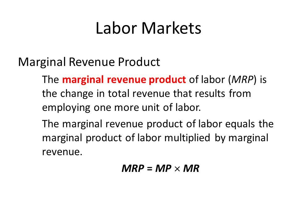 Labor Markets Marginal Revenue Product