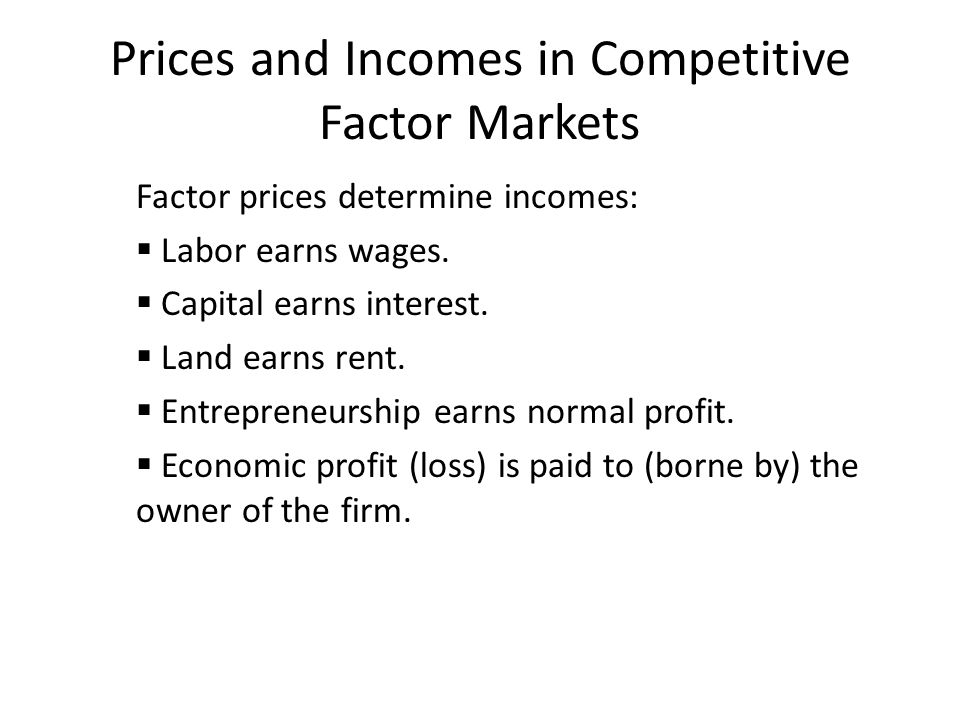 Prices and Incomes in Competitive Factor Markets