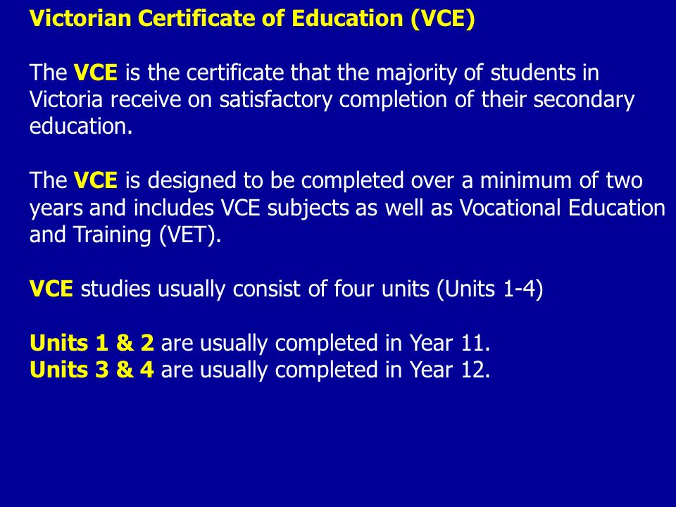 VCE and VET Courses - FHC Course Selection Guide
