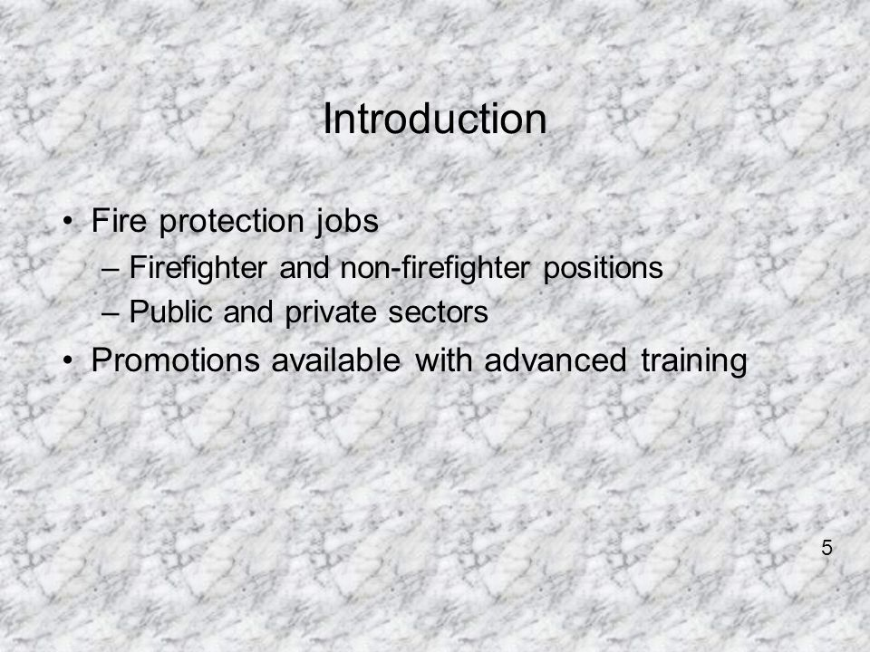 Introduction Fire protection jobs