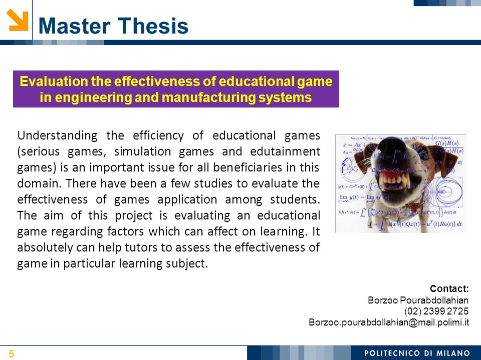Foreign studies in thesis games
