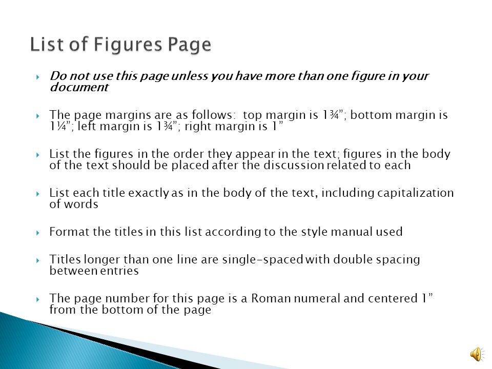 where does the list of figures go in a dissertation Full title of thesis or dissertation following february 2010 full registered name of author (including all middle names registered with the university records):- 'centred' style applied to this and the following paragraphs it is optional text to give more information about the figure and does not appear in the list of figures.