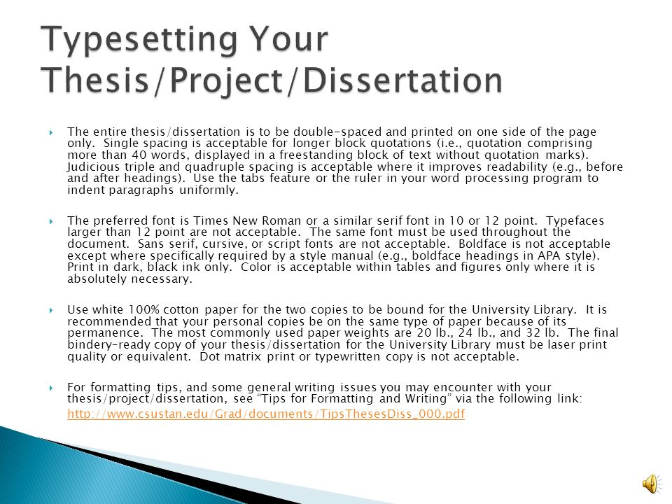 Dissertation formatting guidelines