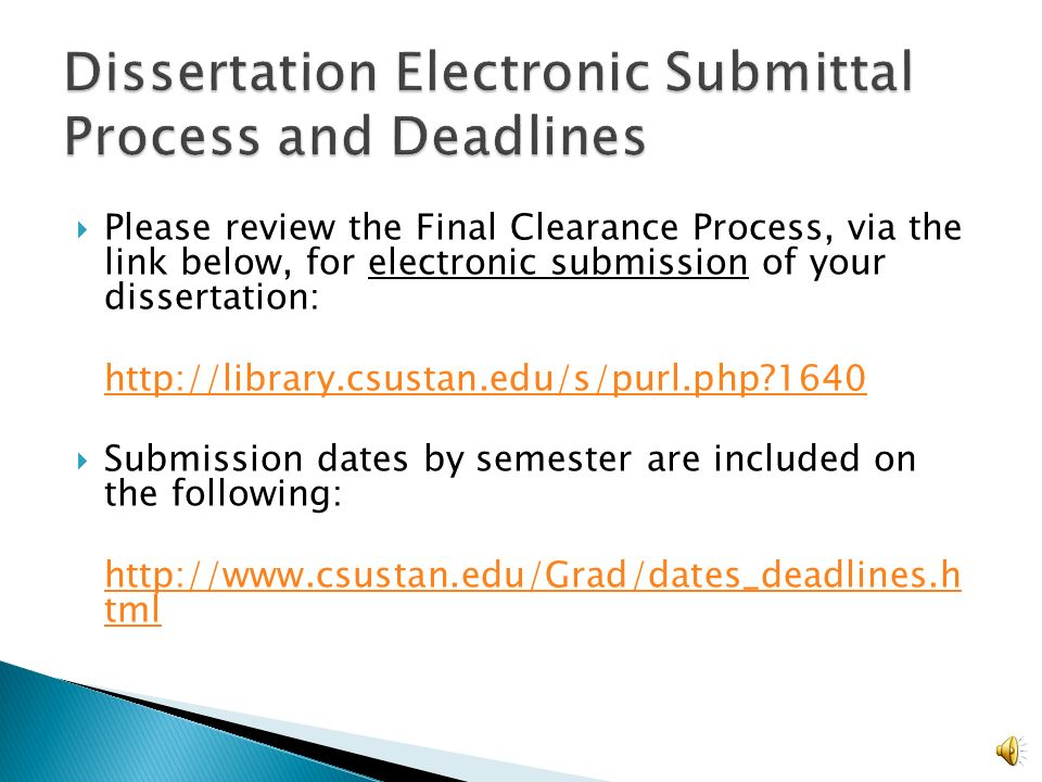 electronic thesis and dissertation submission process uf Electronic thesis or dissertation (etd) document is submitted electronically to website as part of the submission process consult the university etd website.