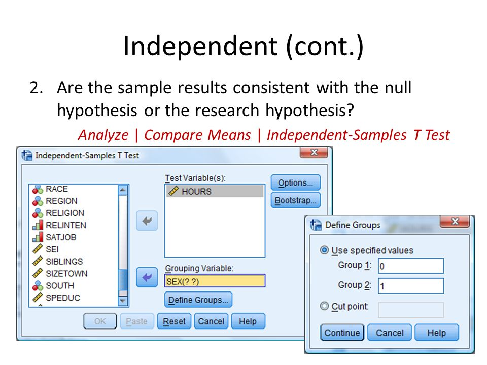 testing hypothesis using spss software The independent sample t-test in spss  collected, and tests the null  hypothesis that both samples are from the same population and therefore do not  differ in.