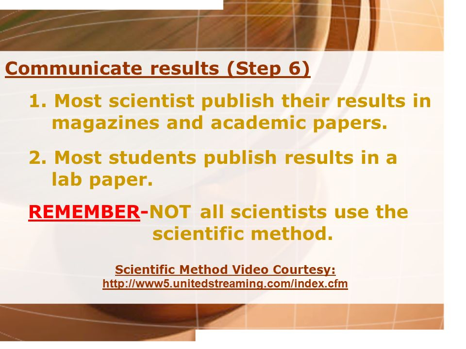 Communicate results (Step 6)