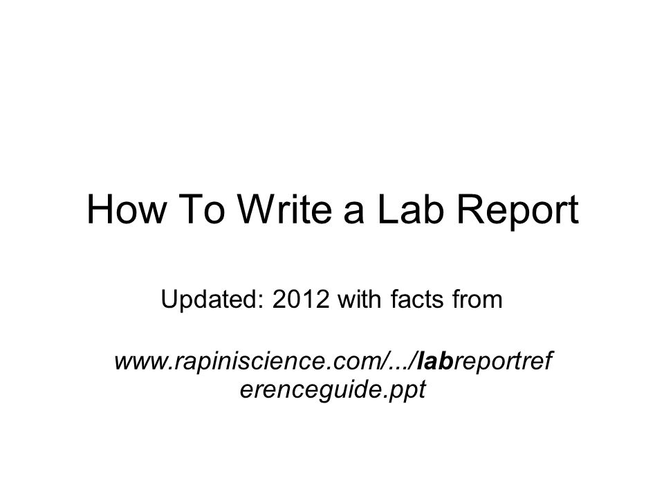 How to write a science lab report ppt
