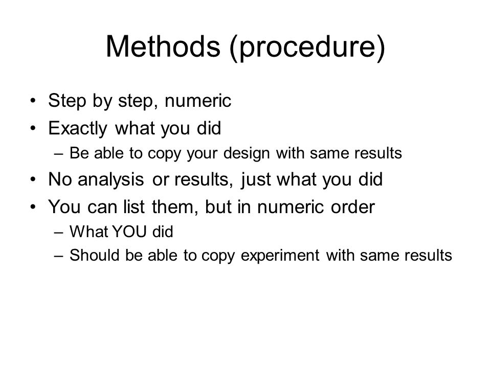 how to write a procedure for a lab Improving your lab report is usually a matter of learning to read our writing differently read your lab report at least your laboratory procedure is.