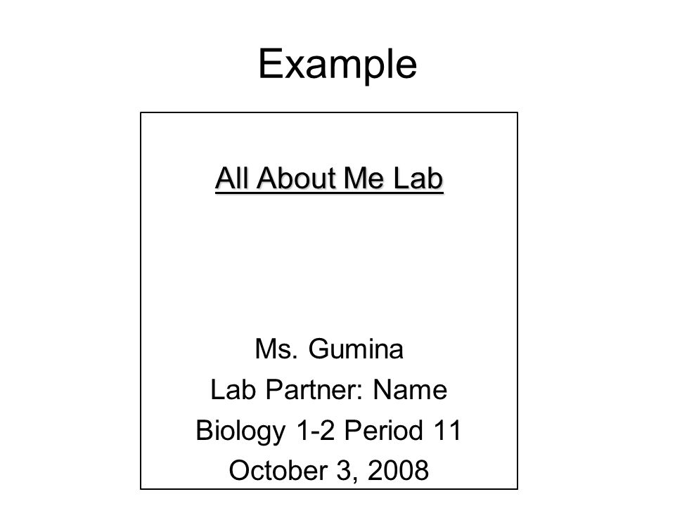 Sample biology lab reports example – Sample Lab Report
