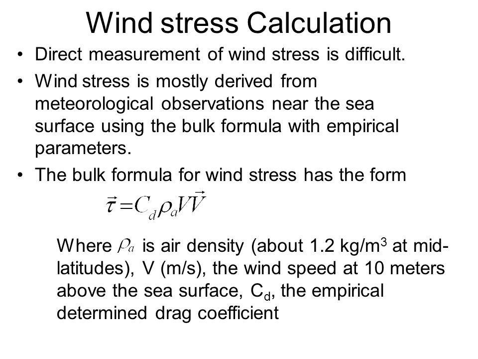 Wind stress Calculation