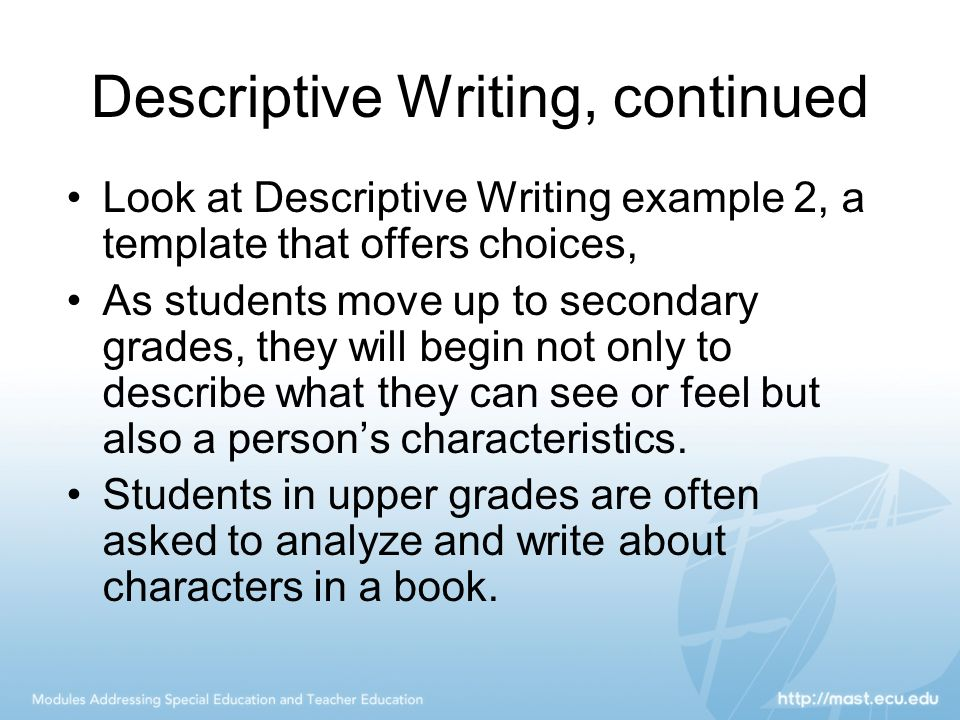 essay writing describing people