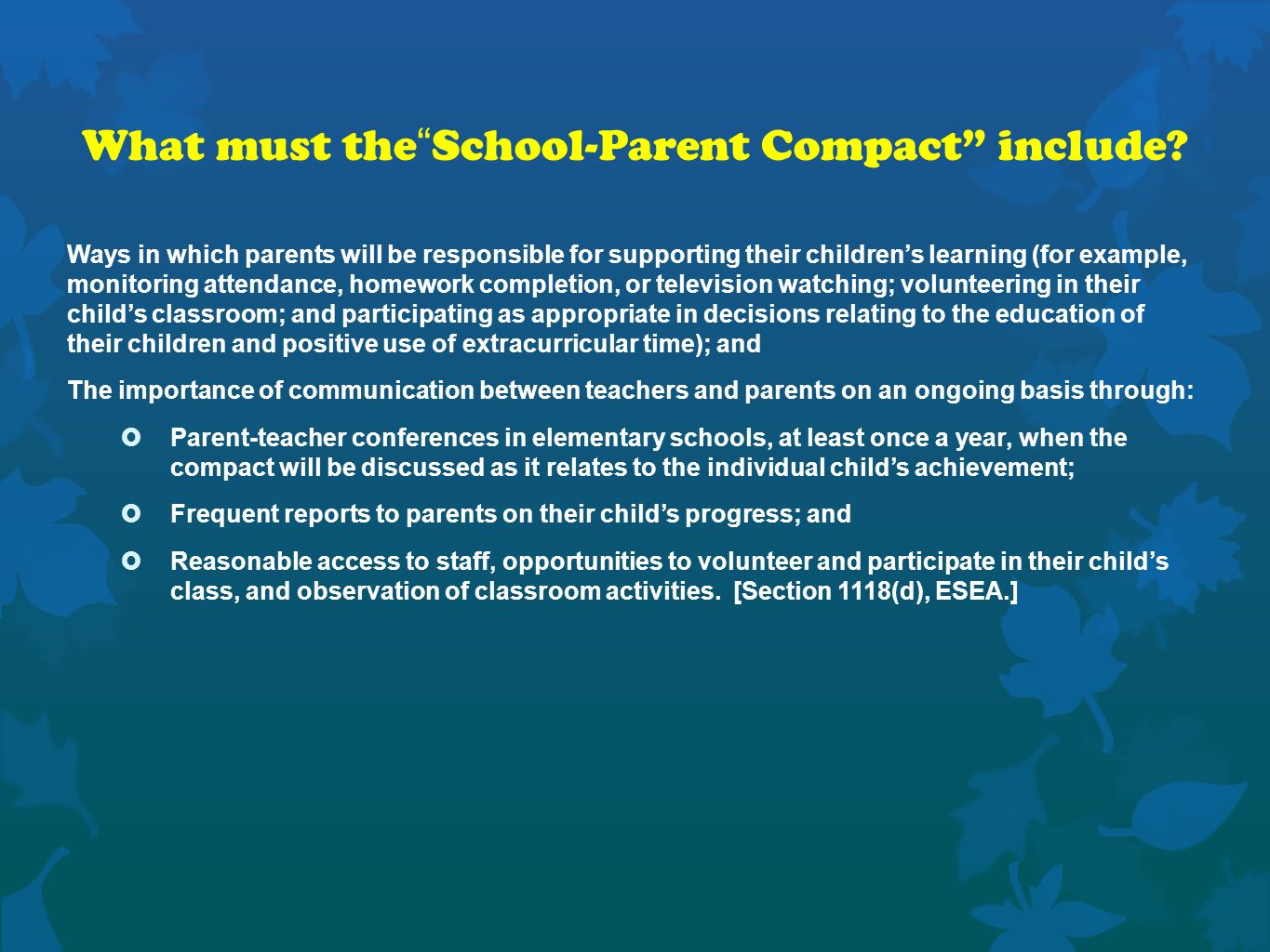 What must the School-Parent Compact include