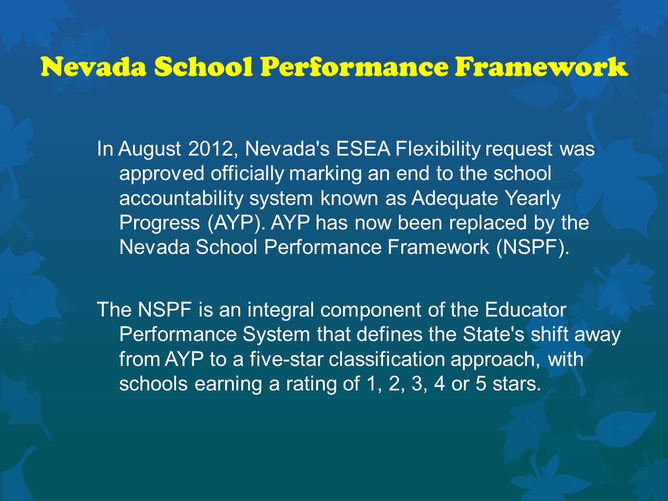 Nevada School Performance Framework