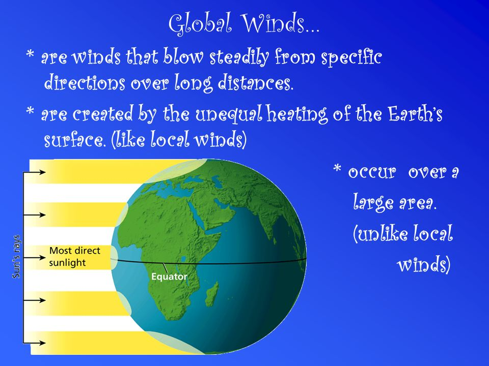 Global Winds… * are winds that blow steadily from specific directions over long distances.