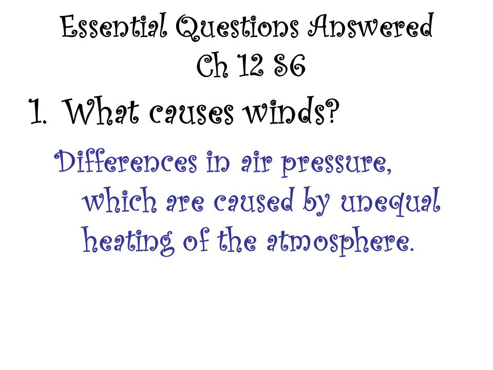 Essential Questions Answered Ch 12 S6