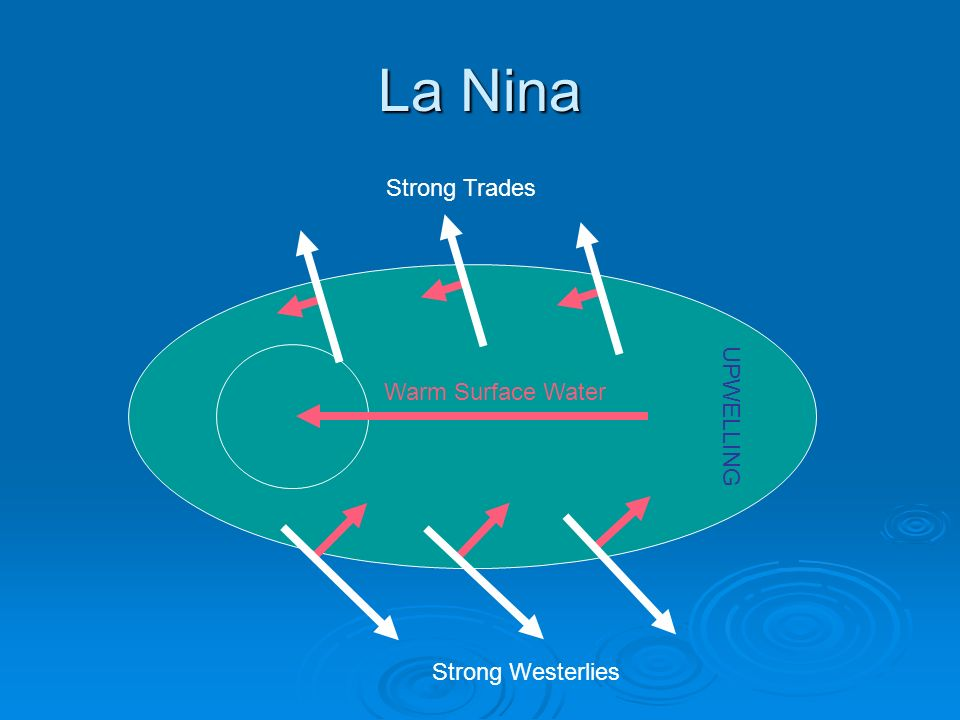 La Nina Strong Trades Warm Surface Water UPWELLING Strong Westerlies