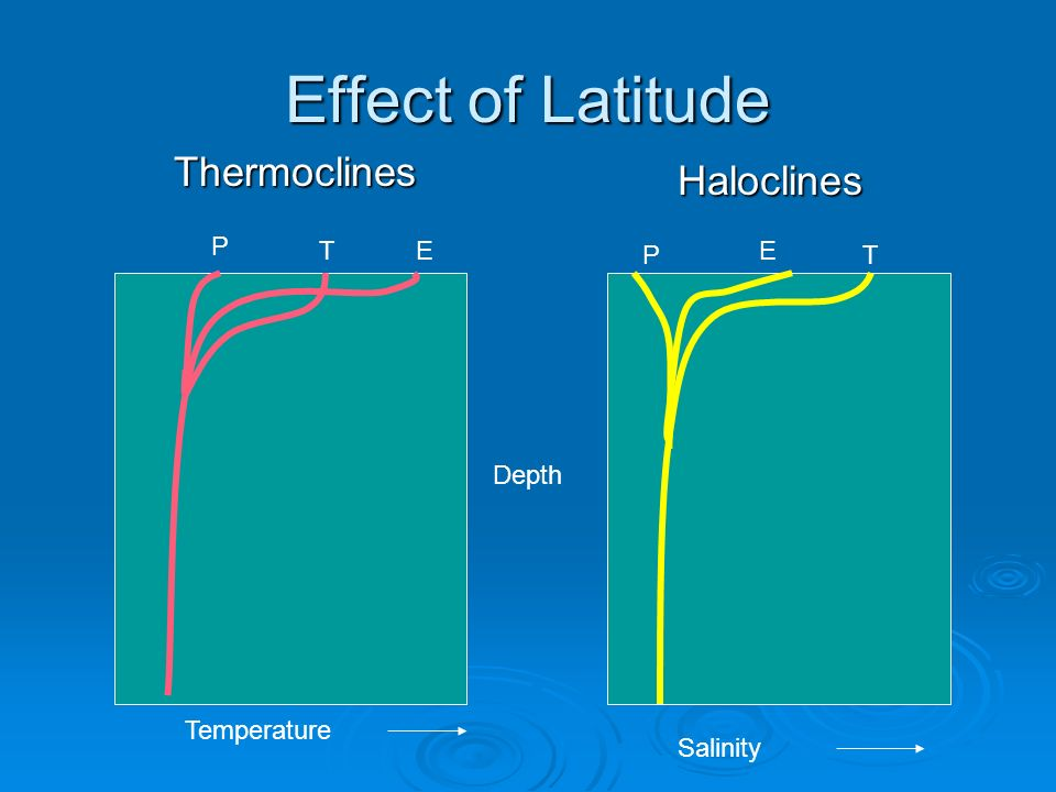 Effect of Latitude Thermoclines Haloclines P T E P E T Depth