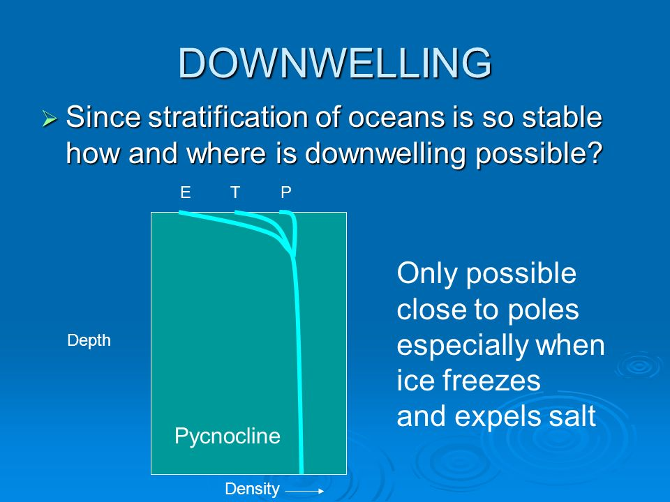 DOWNWELLING Since stratification of oceans is so stable how and where is downwelling possible E. T.