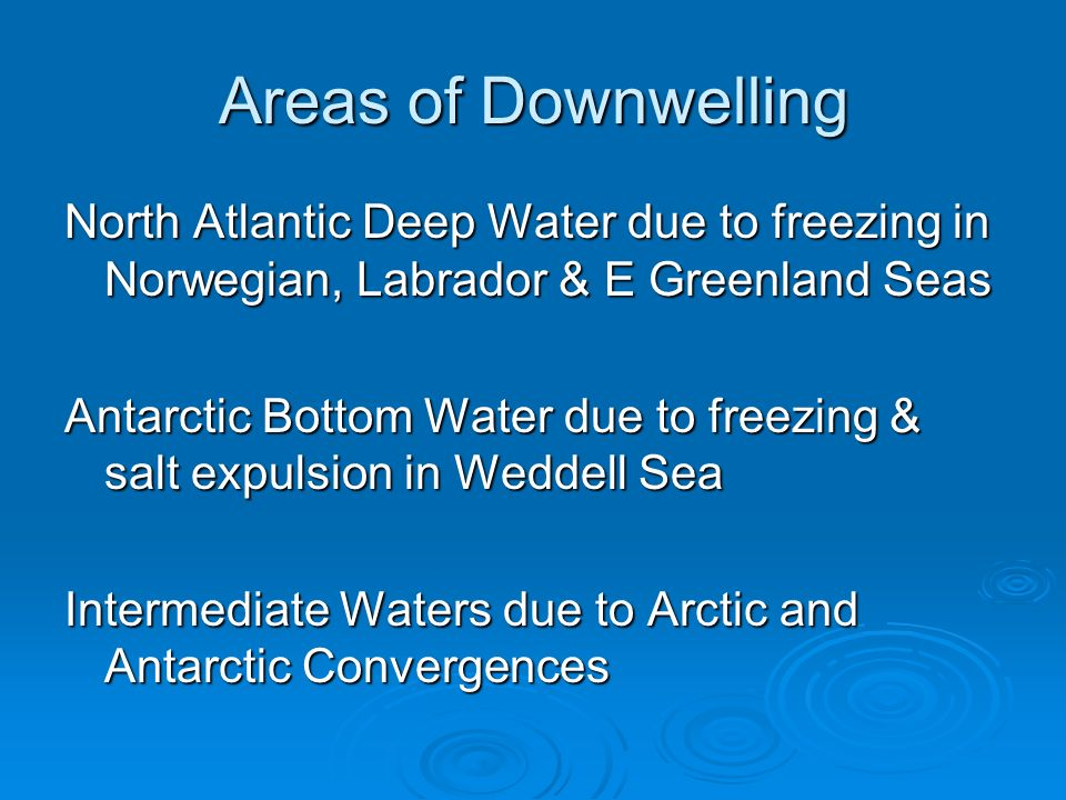 Areas of Downwelling North Atlantic Deep Water due to freezing in Norwegian, Labrador & E Greenland Seas.