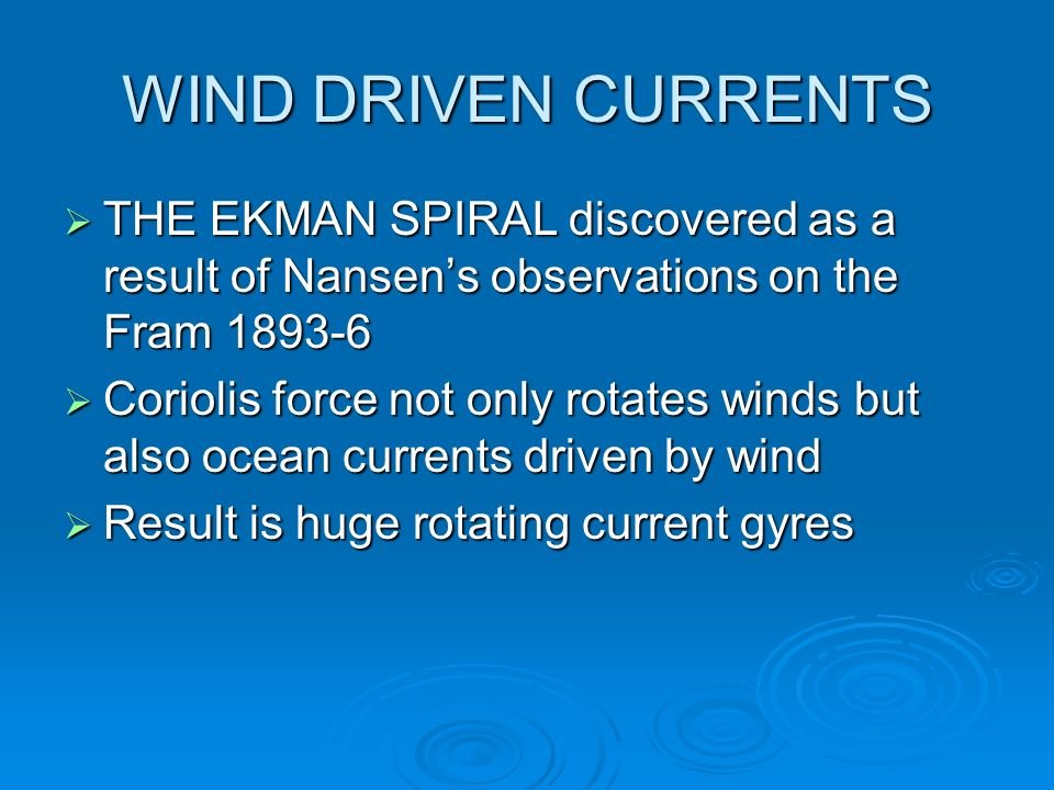 WIND DRIVEN CURRENTS THE EKMAN SPIRAL discovered as a result of Nansen's observations on the Fram