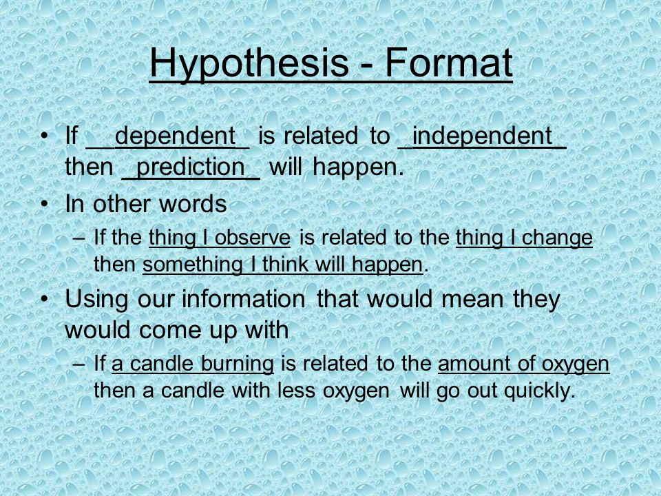 How to Propose a Formal Hypothesis