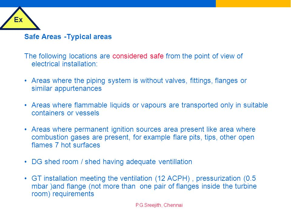 Safe Areas -Typical areas