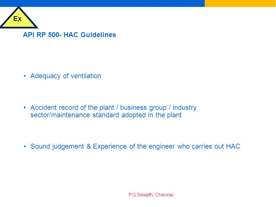 API RP 500- HAC Guidelines Adequacy of ventilation.