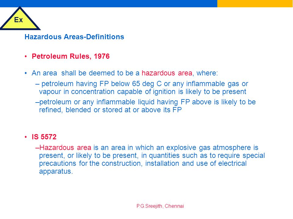 Hazardous Areas-Definitions