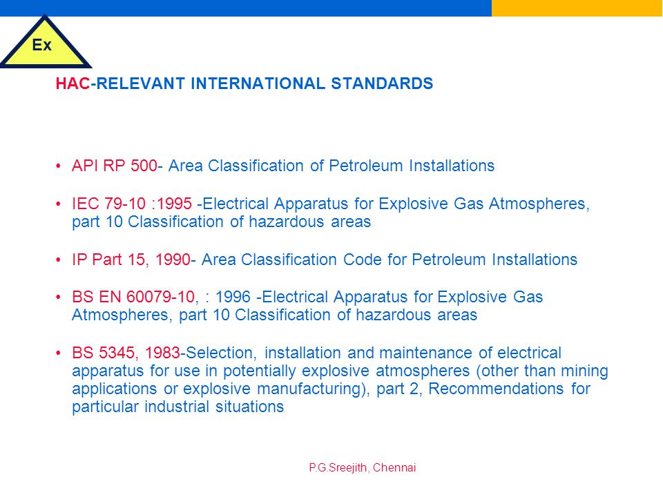HAC-RELEVANT INTERNATIONAL STANDARDS