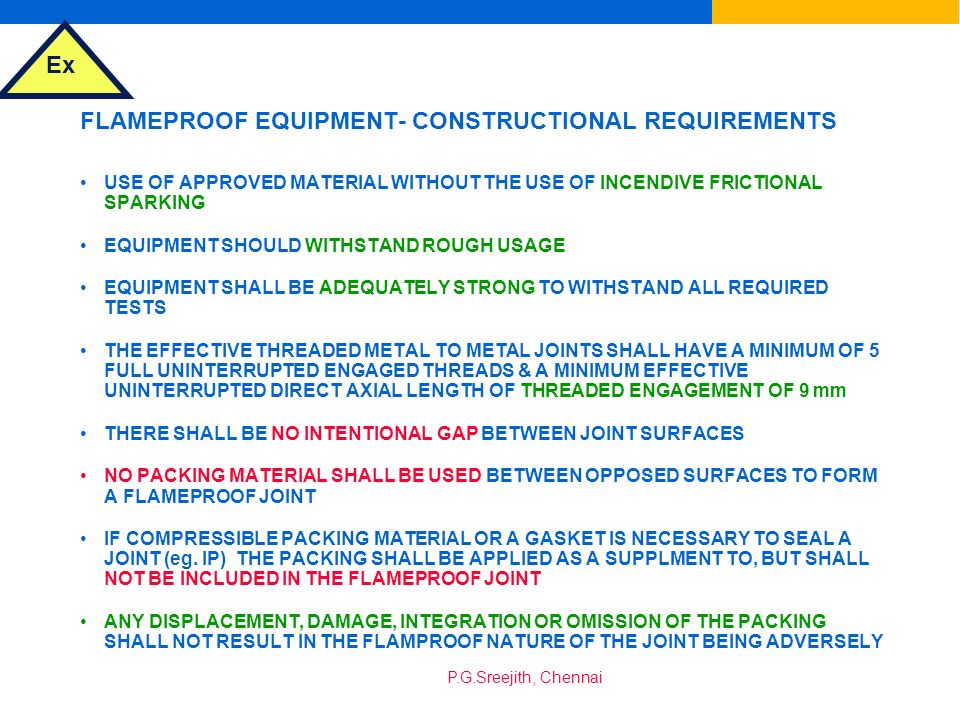 FLAMEPROOF EQUIPMENT- CONSTRUCTIONAL REQUIREMENTS