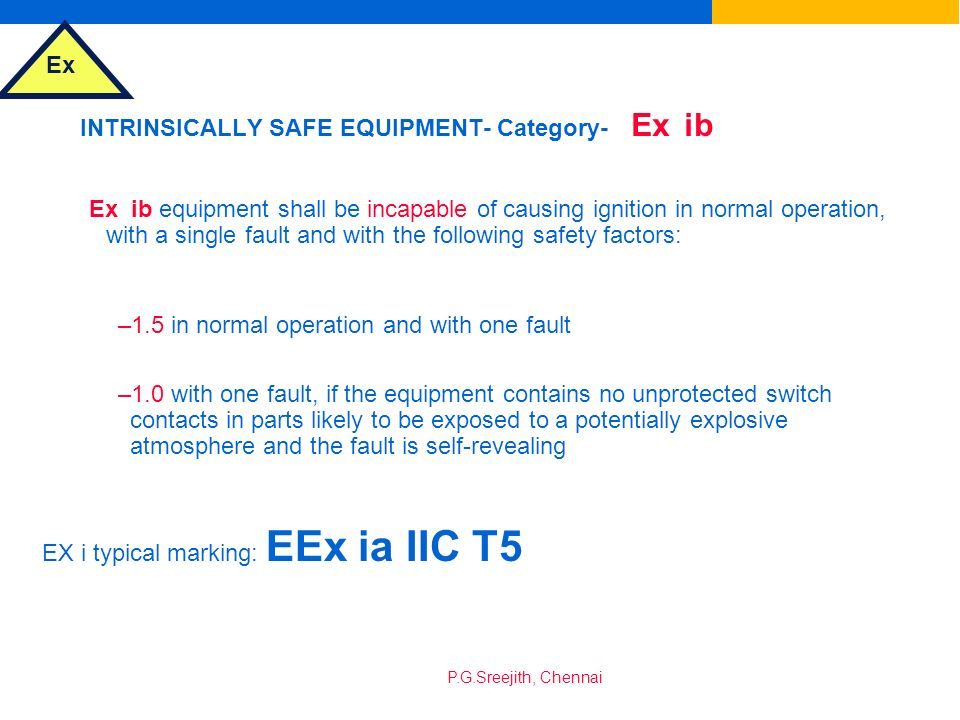 INTRINSICALLY SAFE EQUIPMENT- Category- Ex ib