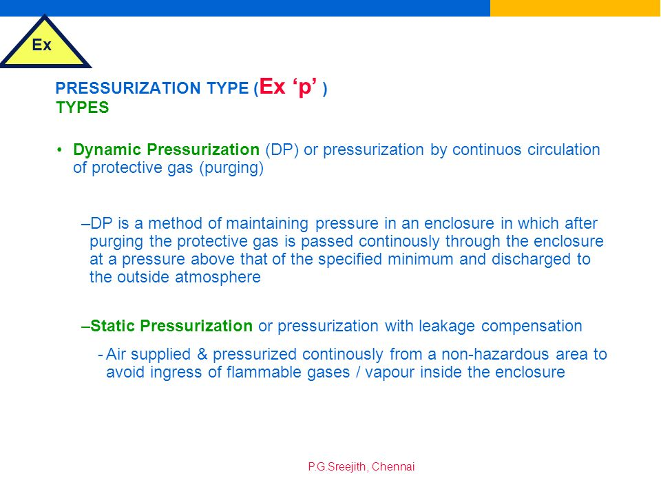 PRESSURIZATION TYPE (Ex 'p' ) TYPES
