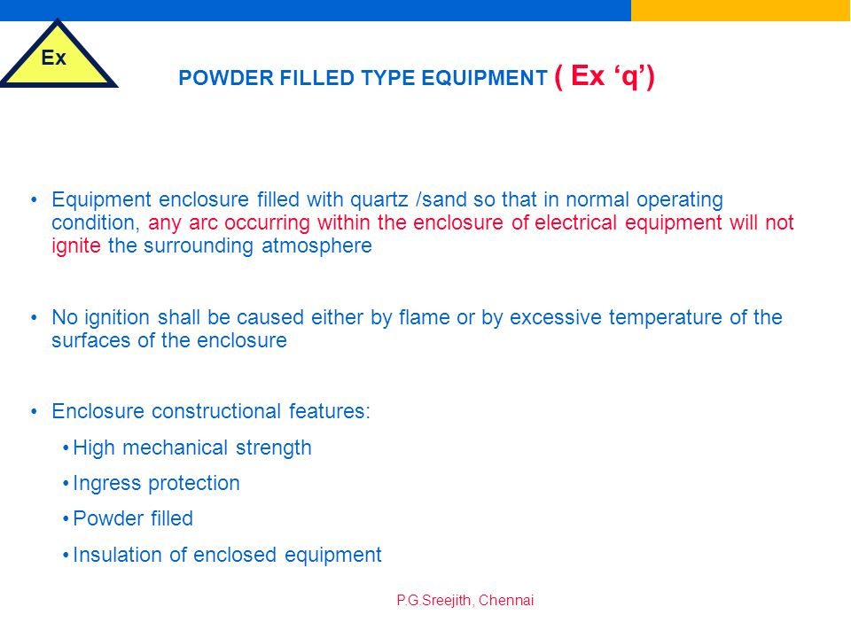 POWDER FILLED TYPE EQUIPMENT ( Ex 'q')