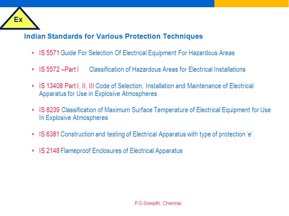 Indian Standards for Various Protection Techniques