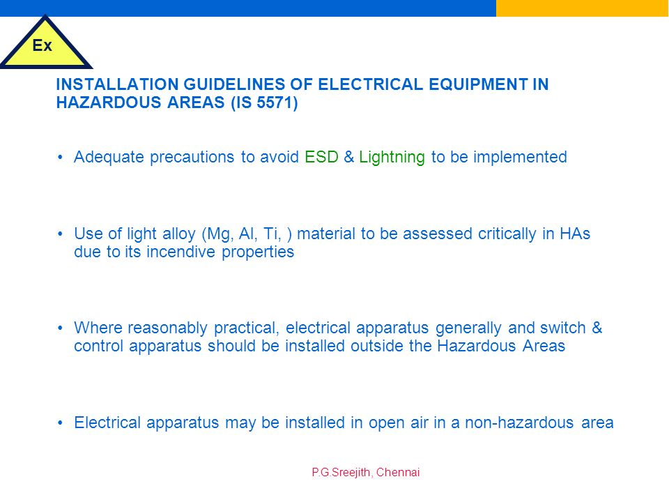 INSTALLATION GUIDELINES OF ELECTRICAL EQUIPMENT IN HAZARDOUS AREAS (IS 5571)