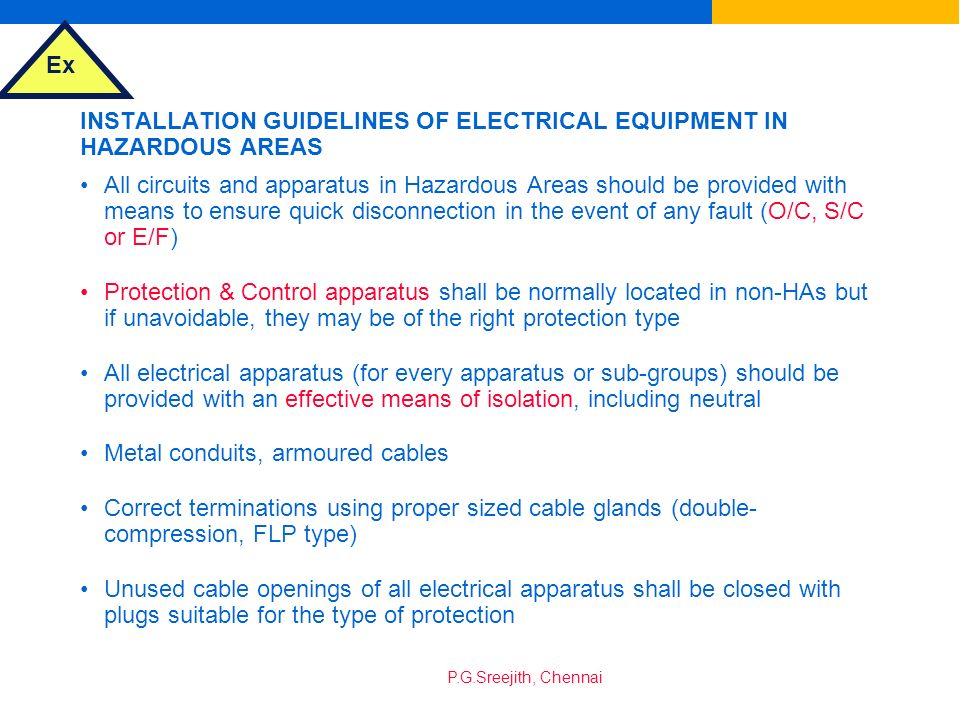 INSTALLATION GUIDELINES OF ELECTRICAL EQUIPMENT IN HAZARDOUS AREAS