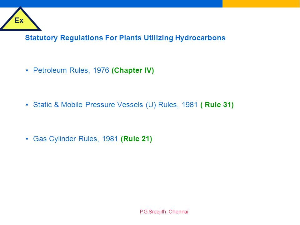 Statutory Regulations For Plants Utilizing Hydrocarbons