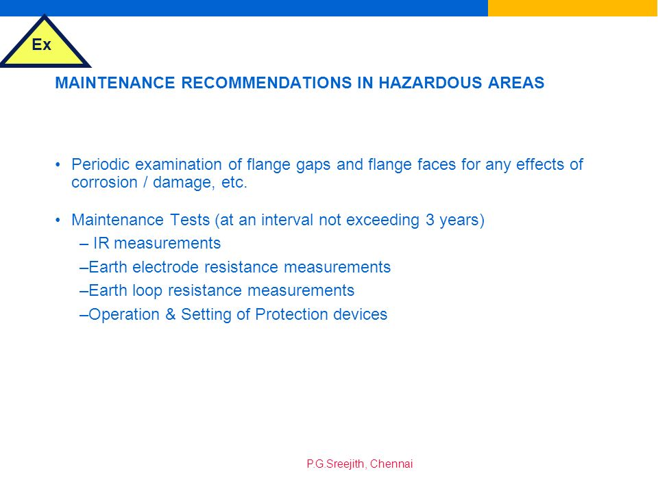 MAINTENANCE RECOMMENDATIONS IN HAZARDOUS AREAS
