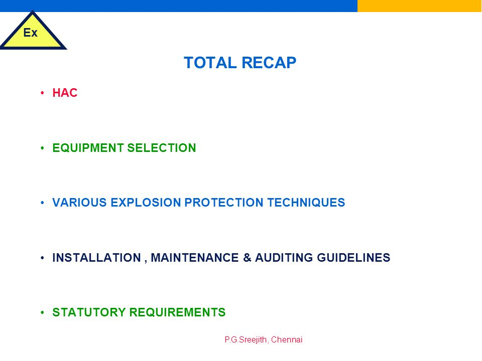 TOTAL RECAP HAC EQUIPMENT SELECTION