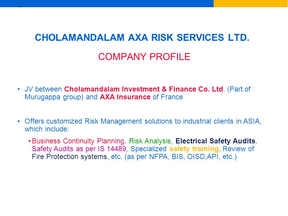 CHOLAMANDALAM AXA RISK SERVICES LTD.
