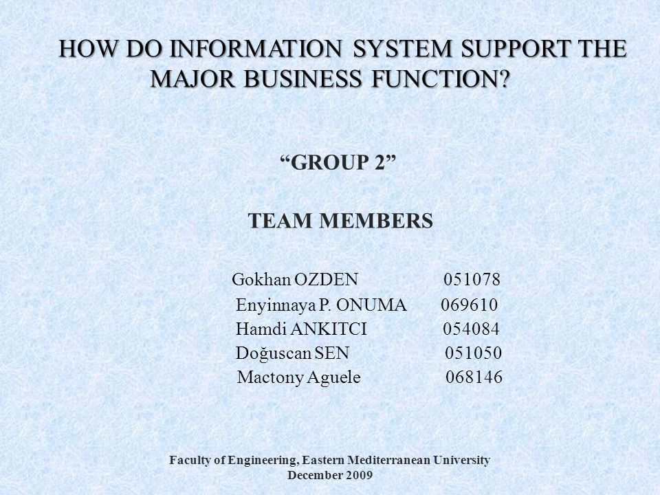 HOW DO INFORMATION SYSTEM SUPPORT THE MAJOR BUSINESS FUNCTION