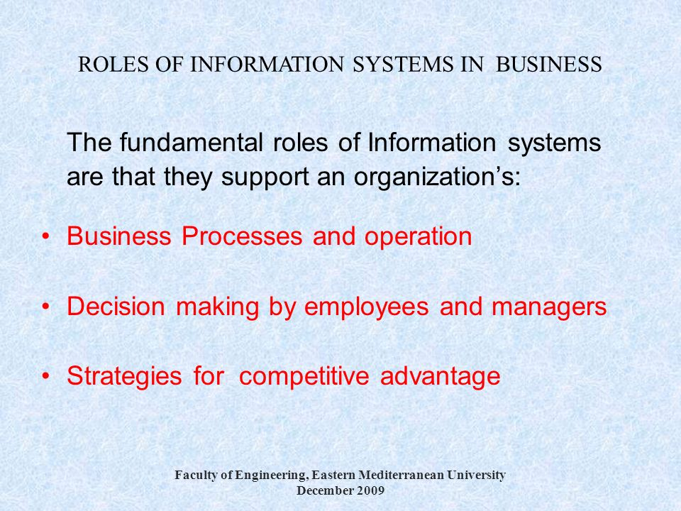 ROLES OF INFORMATION SYSTEMS IN BUSINESS